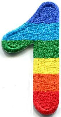 Number 6 counting six gay lesbian LGBT rainbow applique iron-on patch S-1026