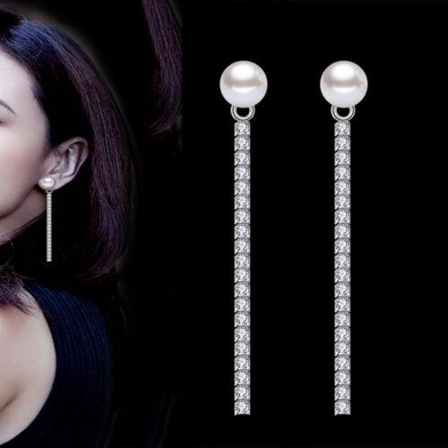 Women Fashion Cubic Zircon Long Tassel Drop Dangle Pearl Earring Wedding Jewelry