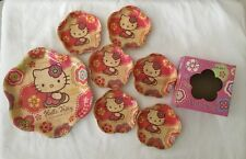 Hello Kitty Sanrio Lacquered Wooden Coaster Set 6 & Plate 2005