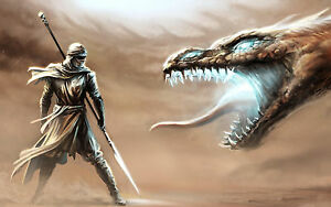 Picture Mythical Mythology Fantasy Art Framed Print Mythological Fire Dragon