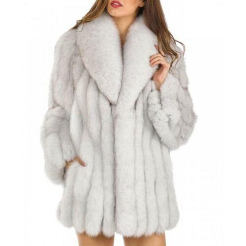 Women Top Fluffy Faux Fox Fur Jacket Coat Thick Outwear Winter Warm Parka HOT SZ