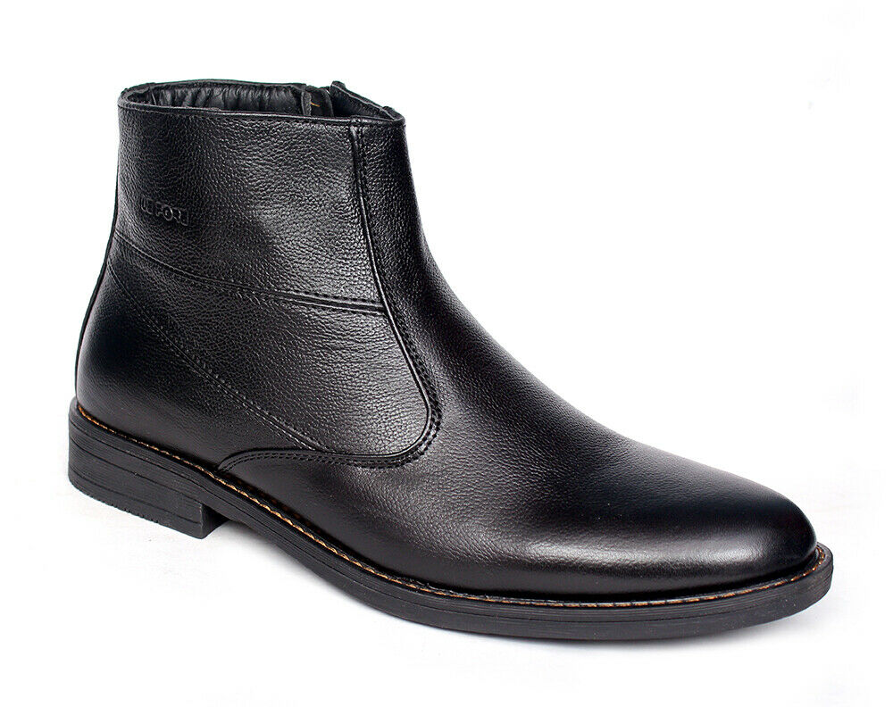 Mens Leather Shoes - Real Leather Zip-Up Boot