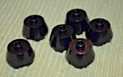 6 Black 2x2 Round Tapered Bricks  ~ Lego ~ NEW ~ Castle