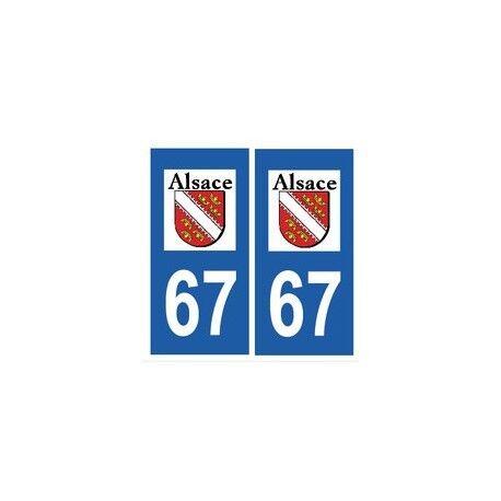 67 Bas Rhin autocollant plaque -  Angles : droits
