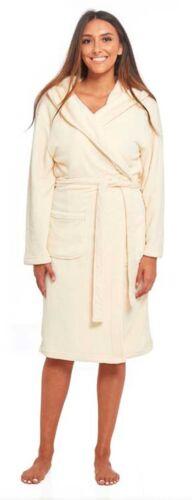 Womens Fleece Dressing Gown Ladies Hooded Novelty Designs /& Plain Bath Robe lot
