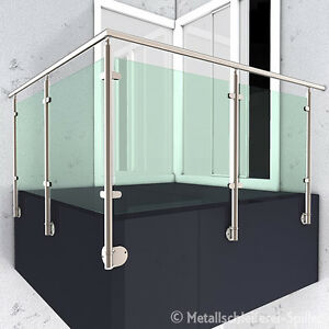 edelstahl gel nder balkon handlauf glashalter vorgesetzte montage 8100 14000 mm ebay. Black Bedroom Furniture Sets. Home Design Ideas