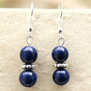 Lapis-Lazuli-Earrings-with-Sterling-Silver-Hooks-New-Gemstone-Drops-LB130
