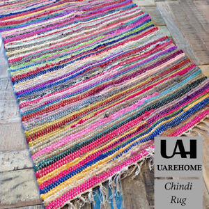 Image Is Loading 100 Recycled Cotton Handmade Mat Multi Coloured Chindi