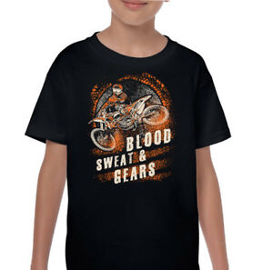 sang-PULL-AND-GEARS-enfants-drole-Motocross-T-Shirt-Moto-motox-Dirt-bike-garcon