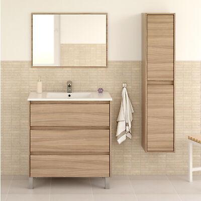 Pack mobiliario baño mueble con espejo lavamanos ceramico y columna 2 puertas