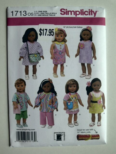 """Simplicity Pattern 1713 Outfits fits 18 inch dolls 18/"""" play clothes"""