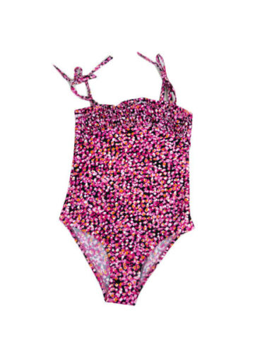 NWT Milly Girls Pink Pattern Ruffle Top Detail Swimwear Swimmers Bathers
