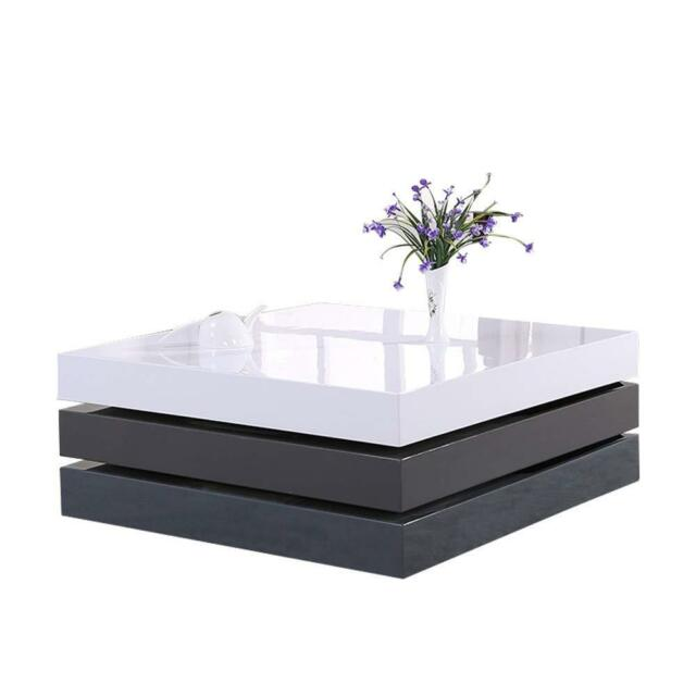 High Gloss White 360 Rotating Tabletop Coffee Table With 2 Grey