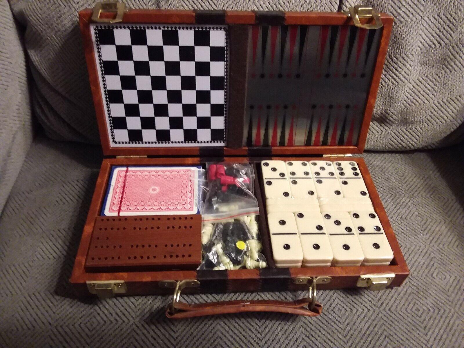 Vintage Travel Board Game Box, Poker - Chess - Bakelite Dice