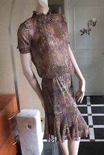 Joseph Ribkoff 10 BNWT Delightful Metallic Raspberry High Neck Top & Skirt Set