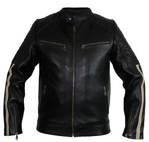 Uomo-Giacca-in-pelle-MOTO-con-PROTEZIONI-strisce-Trapunta-Camouflage-Retro-Biker-Giacca