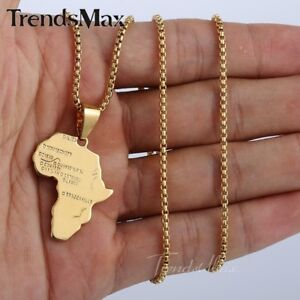 Gold Chain Necklaces for Mens Womens GF Africa Map Pendants Box Link