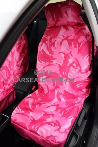 Rosa Camuflaje Impermeable cubiertas de asiento de coche SKODA Citigo 2012 - 2 X frentes