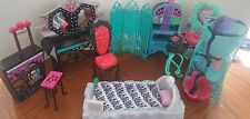 Monster High Doll Furniture Lot Bed Shower Vanity Chair Cafe 10 Pieces