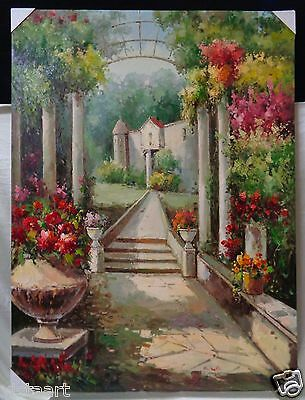 """Oil Painting on Stretched Canvas """"Heavenly Garden View To Residence"""" 36x48"""""""