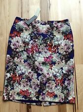 NEW $119 TALBOTS Purple Mirrored Bouquet,Floral Pencil Skirt Sz 10
