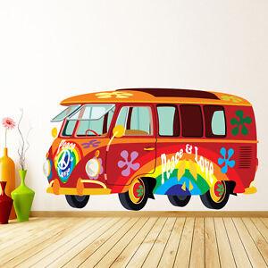 Vw Camper Van Hippy Style Transport Colour Wall Sticker