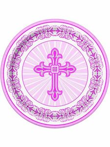 Image is loading 8-x-Pink-Cross-Paper-Plates-Christening-Confirmation-  sc 1 st  eBay & 8 x Pink Cross Paper Plates Christening Confirmation Communion ...