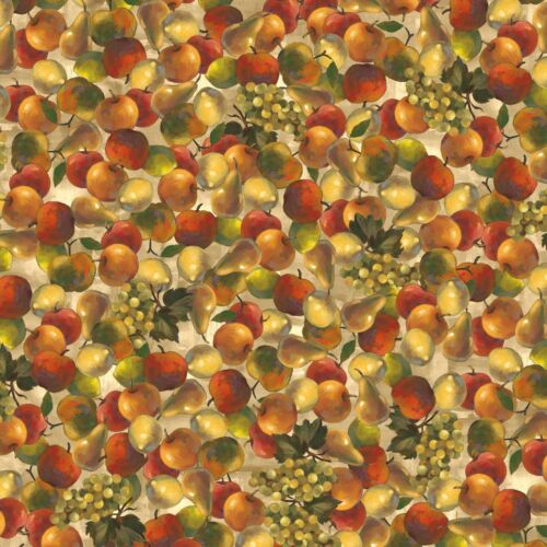 Fruits Tossed Apples Pear Grapes Premium 100/% Cotton Fabric by the Yard