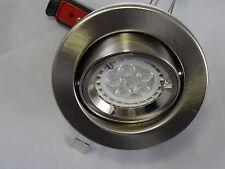 10 X BRUSHED CHROME TILT Fire Rated down light  FOR GU10 LED Bulb, Downlights