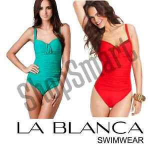 NEW-La-Blanca-Women-039-s-Shirr-And-Now-OTS-Sweetheart-Cup-One-Piece-Swimsuit