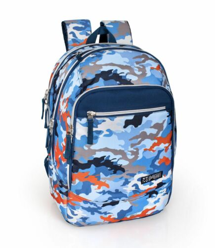 Blue Orange Camo Military Boys Men Backpack Rucksack Travel Work School Bag