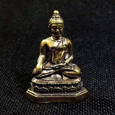 Thai Amulets Buddha Brass Figurine Holy Magic Sacred Protect Lucky Success D28