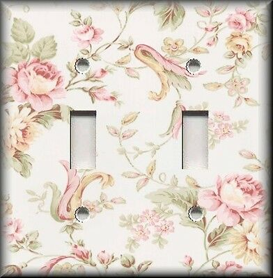 Metal Light Switch Plate Cover Floral Victorian Pink