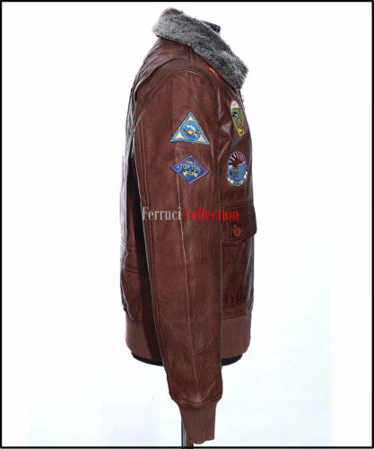 Top Gun Men/'s Vintage Brown Retro Fur Collar Real Cowhide Leather Pilot Jacket