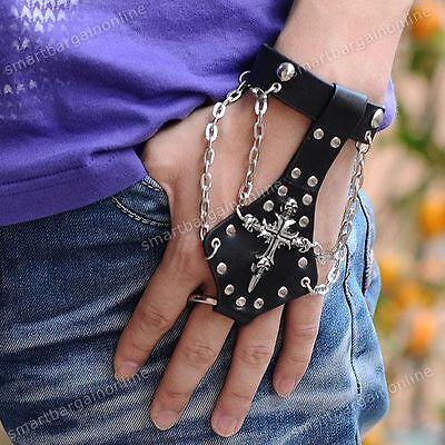 NEU PUNK KREUZ Handschuh Style Lederarmband Herren Leder Armband CHAIN EMO ROCK
