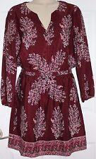 Madewell Silk Lassi Flower Dress Sz 00 rusted burgundy NWT #e9466 $168