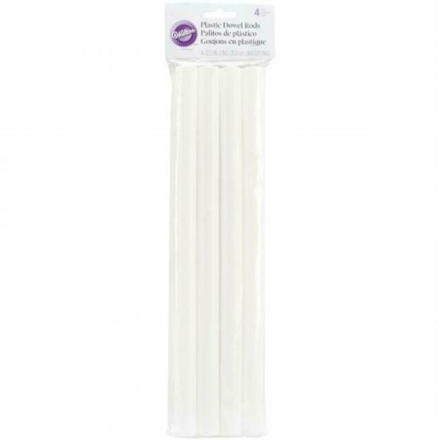 "Wilton Dowel Rods White 4 Pack Heavy Duty Hollow Plastic 12.75/"" Length X 0.75/"" D"