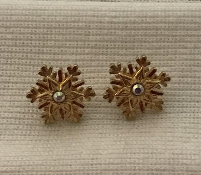 Snowflake Earrings clear rhinestone gold tone pierced stud