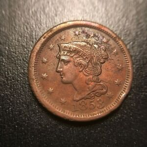 1853 Braided Hair Large Cent AU++/UNC About Uncirculated Coronet Late Date EAC