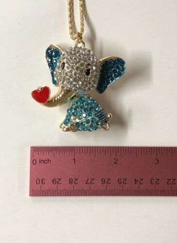 Betsey Johnson Necklace Elephant Gold Blue Crystal Enamel Heart Gift Box Bag Lk