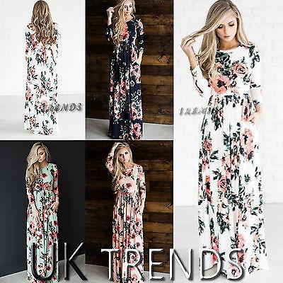 UK Women Floral Print Long Sleeves Boho Ladies Evening Party Long Maxi Dress