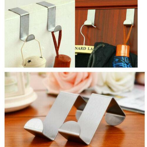 5//10pcs Over Door Hook Stainless Kitchen Cabinet Clothes Hanger Organizer Holder