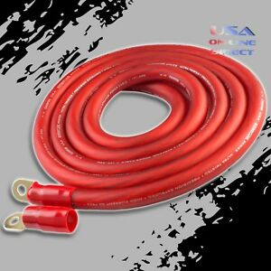 0 Gauge 10 ft RED Power OFC Wire Strand Copper FLAT Marine Cable 1//0 AWG