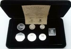 Isle-of-Man-1978-Silver-Proof-Coin-Set-Cased-7-With-COA