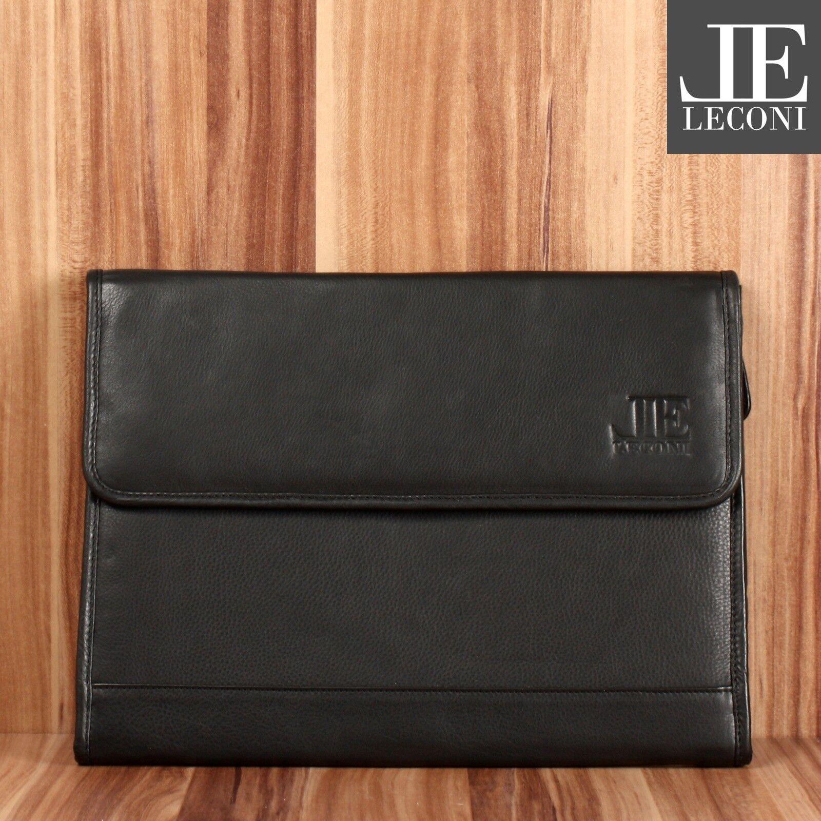LECONI Aktenmappe Schreibmappe A4 Damen Herren Leder schwarz LE3071 | Helle Farben  | Wonderful  | Garantiere Qualität und Quantität