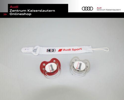 Audi Sport Schnuller-Set in grau und rot 3201901600 Schnuller mit Schnuller-Band