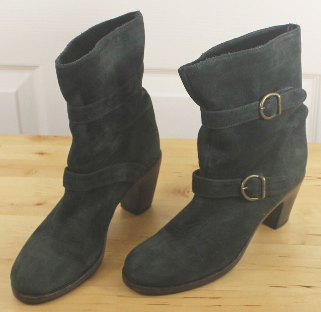 Women's FIORENTINI + + + BAKER Green Suede Double Buckle Ankle Heel Boots Sz 38 US 8 d5f261