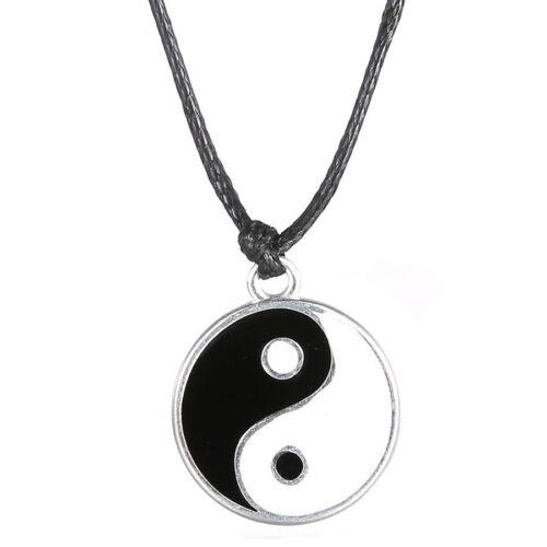 Silver ying yang pendant necklace charm black leather cord man silver ying yang pendant necklace charm black leather cord man women gifts ebay aloadofball Choice Image