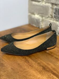 b42144cc383 Details about NEW DSQUARED2 Leather Pointed Toe Flats w/ Golden Heel in  Black Glitter UK4/EU37