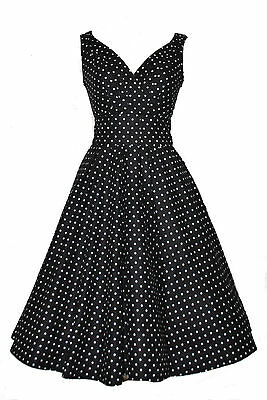 Kenntnisreich Ladies 40's 50's Retro Vintage Style Black Polka Dot Cotton Swing Tea Dress 8-22